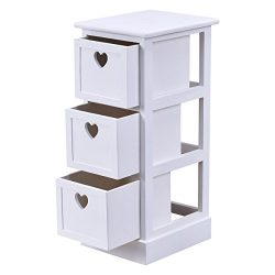 White Wooden Bedside Table Nightstand Cabinet Bedroom Chest W/3 Storage Drawers
