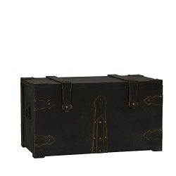 Household Essentials G.O.T. Wooden Standard Trunk, Large, Black