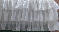 Twin Daybed Size White Voile Layered bedskirt 16 Inch Drop 3 sided