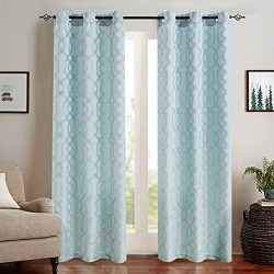 Jacquard Window Curtains for Living Room 63 inch Long Modern Geometric Opaque Semi Sheer Curtain ...