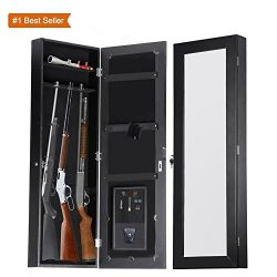 Meakin Online Design Gun Cabinet Armoire Hidden In The Wall Mirror Rifle and Pistol Safe (Holds  ...