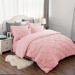 Bedsure 8 Piece Comforter Set Pink Full Queen Size (88″X88″) Pinch Pleat Down Altern ...