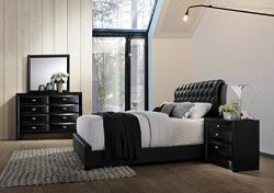 Roundhill Furniture Blemerey 110 Wood Bonded Leather Bed Group with Queen Bed, Dresser, Mirror a ...