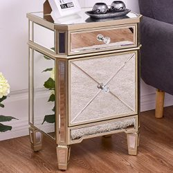 Giantex Mirrored Nightstand End Table w/ Drawer & Cabinet Modern Storage Accent Cabinet Tabl ...