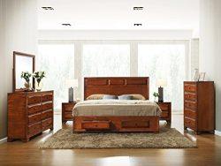 Roundhill Furniture Oakland 139 Antique Oak Finish Wood Bed Room Set, Queen Storage Bed, Dresser ...