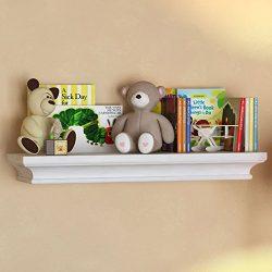 White Traditional Kids Room Wall Shelf 24 x 6 Inches Children's Stylish Floating Ledge Shelf
