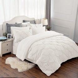 8 Piece Comforter Set Ivory Full Queen Size (88″X88″) Pinch Pleat Down Alternative B ...