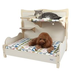 Petsfit Comfortable Bunk Bed for Your Pets with Scratching Pad/Stair/Mat 34″ x 22″ x ...
