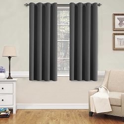 H.VERSAILTEX Blackout Grey Curtains for Bedroom/Living Room, 52″ Wide x 63″ Long Eac ...