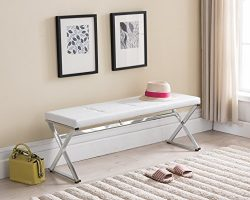 White Tufted Bonded Leather / Chrome Finish Frame X-Design Entryway Bedroom Bench