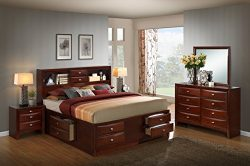 Roundhill Furniture Emily 111 Wood Storage Bed Group with King Bed, Dresser, Mirror and 2 Night  ...