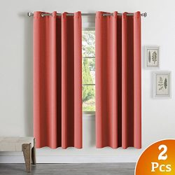 Home Decoration Thermal Insulated Solid Ring Top Blackout Curtains/Drapes for Bedroom(Set of 2,  ...