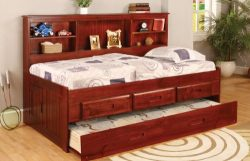 Twin Daybed Bookcase with 3 Drawers and Trundle, Desk, Hutch, Chair and Bookshelf in Merlot Finish