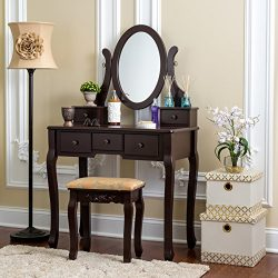 Fineboard Single Mirror Dressing Table Set Five Organization Drawers Vanity Table with Wooden St ...