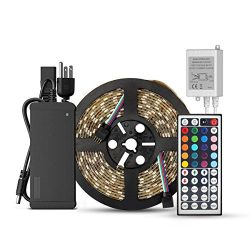 SUPERNIGHT 5-Meter Waterproof Flexible Color Changing RGB SMD5050 300 LEDs Light Strip Kit with  ...