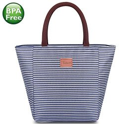TianQin WY Reusable Lunch Tote Bag for Women Oxford Cloth Waterproof Insulated Lunch Bag Lunch B ...
