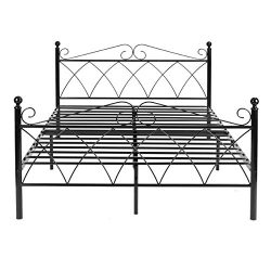 Simlife Metal Frame Two Headboards Mattress Foundation Steel Platform Bed No Box Spring Needed,  ...