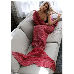 Seatore Mermaid Tail Blanket, Large Size Crocheted Mermaid Blanket, Thick Warm Soft All Seasons  ...
