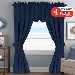 H.VERSAILTEX 99% Blackout Curtains Set for Bedroom – 6 PCS Set of Thermal Insulated Window ...