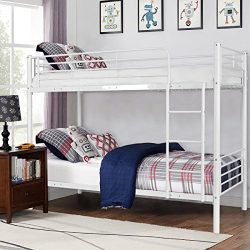 Costzon Twin Over Twin Bunk Bed, Metal Frame with Ladder for Teens Dorm Bedroom (White)