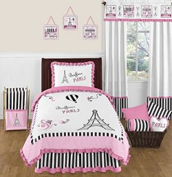 Sweet Jojo Designs 4-Piece Pink, Black and White Stripe Paris Childrens and Kids Girl Twin Frenc ...