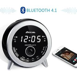 ROCAM Bluetooth Digital Alarm Clock Radio with FM Radio, Dual Alarm, Snooze, Night Light, LED Di ...