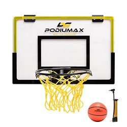 PodiuMax CLEARANCE Mini Basketball Hoop Set for Door, Simple Basketball Wall-Mount Hoops & G ...
