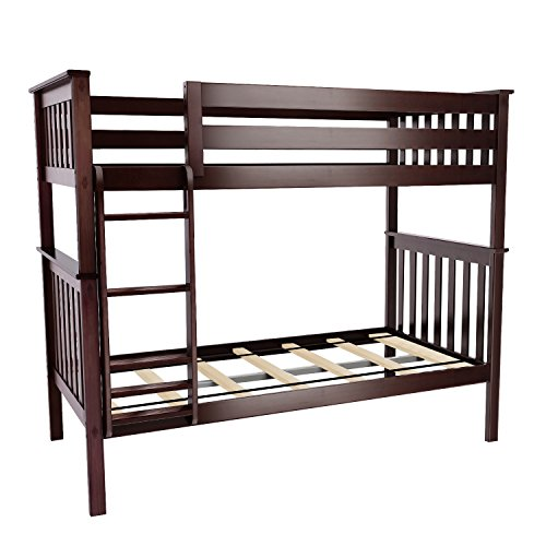 Max & Lily Solid Wood Twin over Twin Bunk Bed, Espresso