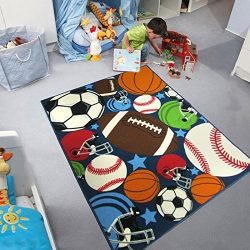 Blue Kids Rug Fun Sport Rugs Nylon Carpet Boys Girls Childrens Rug Balls Print with Soccer Ball, ...