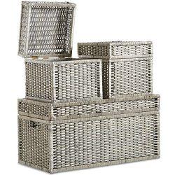VonHaus Set of 3 Woven Wicker Storage Trunks Chest – End of the Bed Storage Ottoman Bench  ...