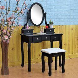 FCH Vanity Makeup Set with Mirror&Stool Dressing Table for Bedroom Bathroom (5 Drawers,Black)