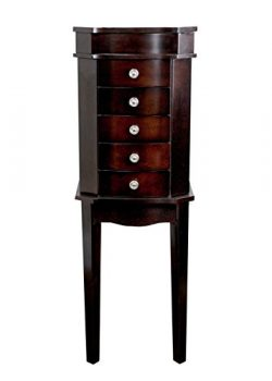 Hives and Honey 6008-585-ob 6008-585 Meg Espresso Armoire with Vanity Mirror and Jewelry Storage ...