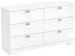 South Shore Reevo 6-Drawer Double Dresser, White