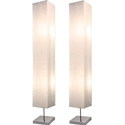 Light Accents HONORS Chrome Floor Lamp Set with Square White Paper Shades (Set of 2)