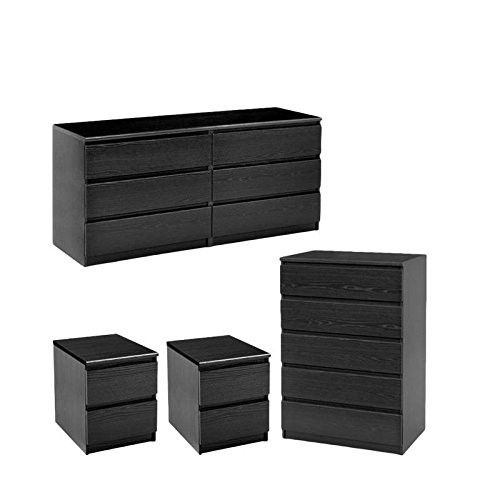 Home Square 4 Piece Bedroom Set with 6 Drawer Dresser, 5 Drawer Chest & Two 2 Drawer Nightst ...