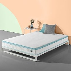 Zinus 8 Inch Mint Green Memory Foam Hybrid Spring Mattress, Queen