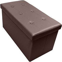 Sorbus Storage Bench Chest – Collapsible/Folding Bench Ottoman with Cover – Perfect Hope Chest,  ...