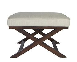 "Cortesi Home OT168333 Ari ""X"" Bench in Linen Fabric with Walnut Wood Legs, Beige"
