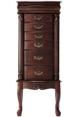 Southern Enterprises Jewelry Armoire, Classic Mahogany Finish with Felt Lined Drawers