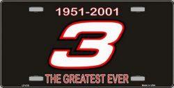 SmartBlonde Dale Earnhardt NASCAR 1951 2001 #3 Greatest Ever Novelty Vanity Metal License Plate  ...