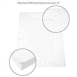 HOMFY Queen Premium Hypoallergenic Waterproof Mattress Protector, Deep Pocket Fitted Sheet (18&# ...