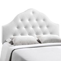 Modway Sovereign Upholstered Tufted Button Vinyl Headboard King Size In White