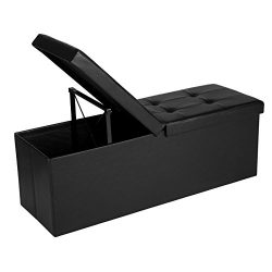 SONGMICS 43″ L Folding Storage Ottoman Bench with Flipping Lid, Storage Chest/Footrest/Pad ...