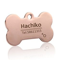 Chieesoam Decorative Pet ID Dog Label Collar Stainless Steel Custom Label Rose Gold S