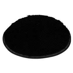 Vanvler Round Mat, Soft Bath Bedroom Floor Shower Non-slip Rug Pad 15.7 inch (Black)