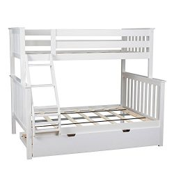 Max & Lily Solid Wood Twin over Full Bunk Bed with Trundle Bed, White