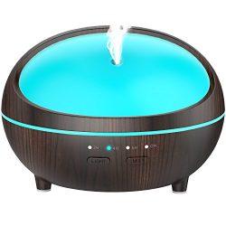 Essential Oil Diffuser, Wood Grain 300ml Aromatherapy Diffuser Essential Oil Humidifier with Tim ...