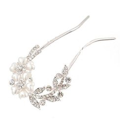 Botrong Bridal Wedding Rhinestones Crystals Pearl Hairpin Hair Clip Jewelry