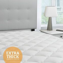 eLuxurySupply Bamboo Extra Thick Mattress Pad with Fitted Skirt – Extra Plush Cooling Topp ...
