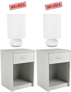 Set of 2 Nightstand End Tables Pair Bedroom Table Furniture in White Finish With 2 Pack White Mi ...